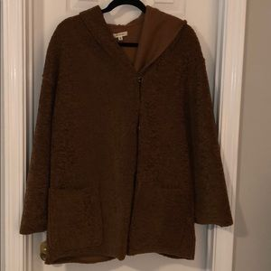 Max studio fake fur brown jacket with hood